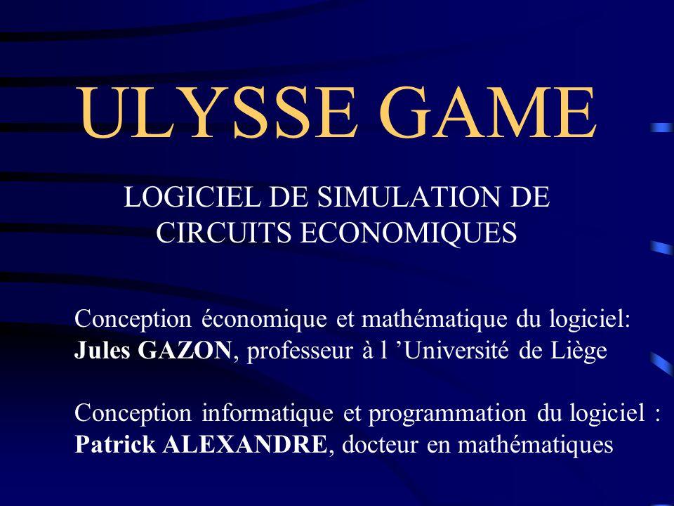 ULYSSE GAME Un jeu de simulation de circuits économiques Objectifs (suite 2) Laboratoire expérimental d économie et de gestion –Analyse des comportements –Confrontation théorie/réalité –Expérimentation de nouvelles théories –Analyse économétrique (archivage des jeux)