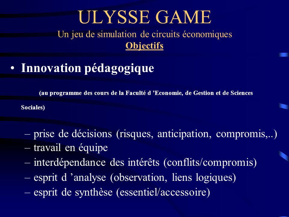 ULYSSE GAME Un jeu de simulation de circuits économiques Objectifs Innovation pédagogique (au programme des cours de la Faculté d Economie, de Gestion