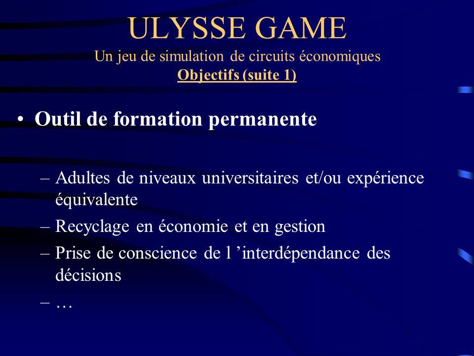 ULYSSE GAME Un jeu de simulation de circuits économiques Objectifs (suite 1) Outil de formation permanente –Adultes de niveaux universitaires et/ou ex