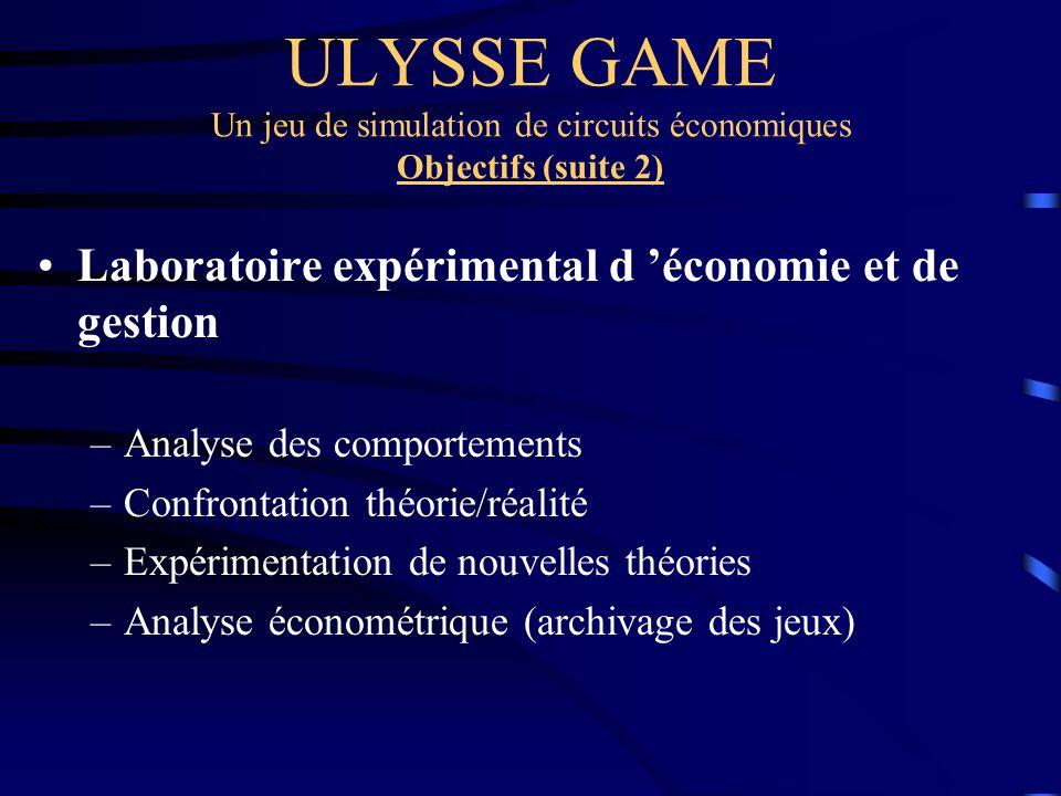 ULYSSE GAME Un jeu de simulation de circuits économiques Objectifs (suite 2) Laboratoire expérimental d économie et de gestion –Analyse des comporteme