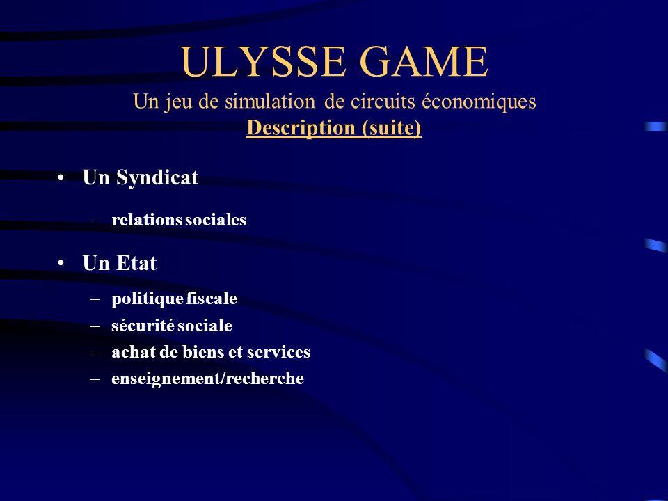 ULYSSE GAME Un jeu de simulation de circuits économiques Description (suite) Un Syndicat –relations sociales Un Etat –politique fiscale –sécurité soci