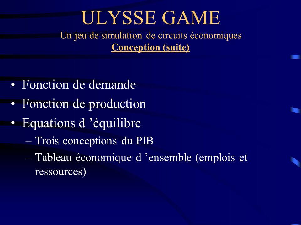 ULYSSE GAME Un jeu de simulation de circuits économiques Conception (suite) Fonction de demande Fonction de production Equations d équilibre –Trois co