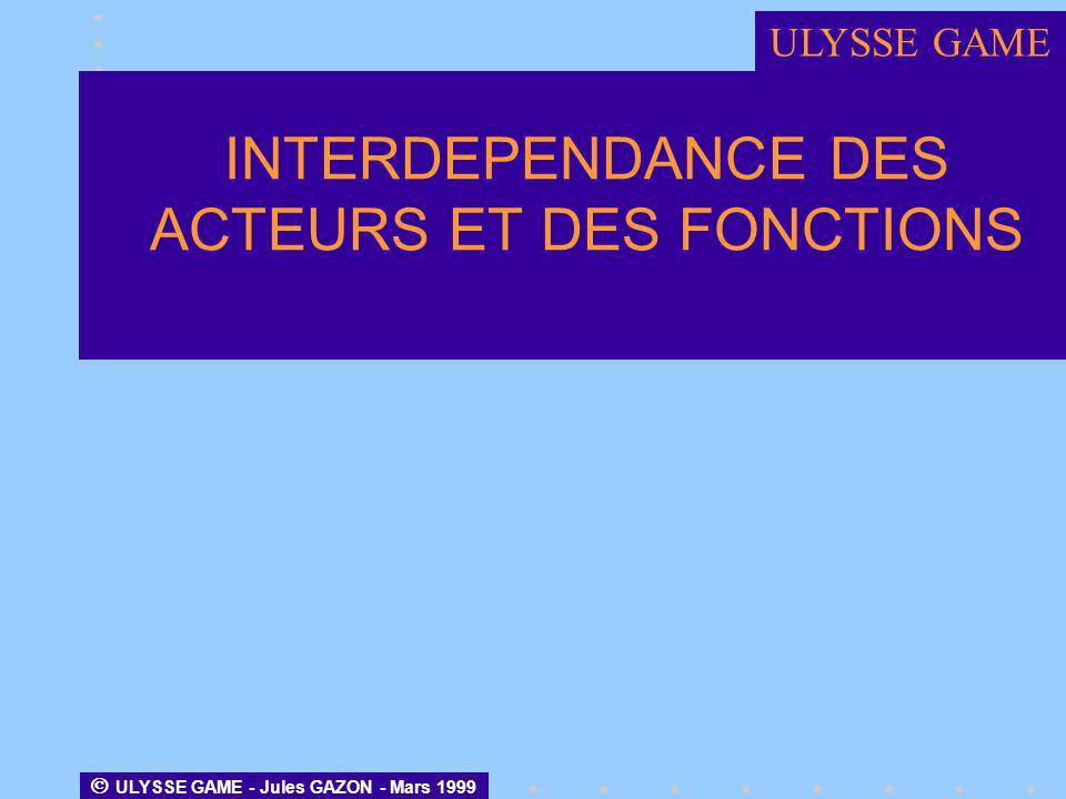 INTERDEPENDANCE DES ACTEURS ET DES FONCTIONS ULYSSE GAME