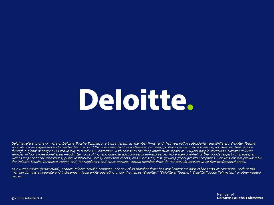 15 ©2005 Deloitte S.A. Member of Deloitte Touche Tohmatsu