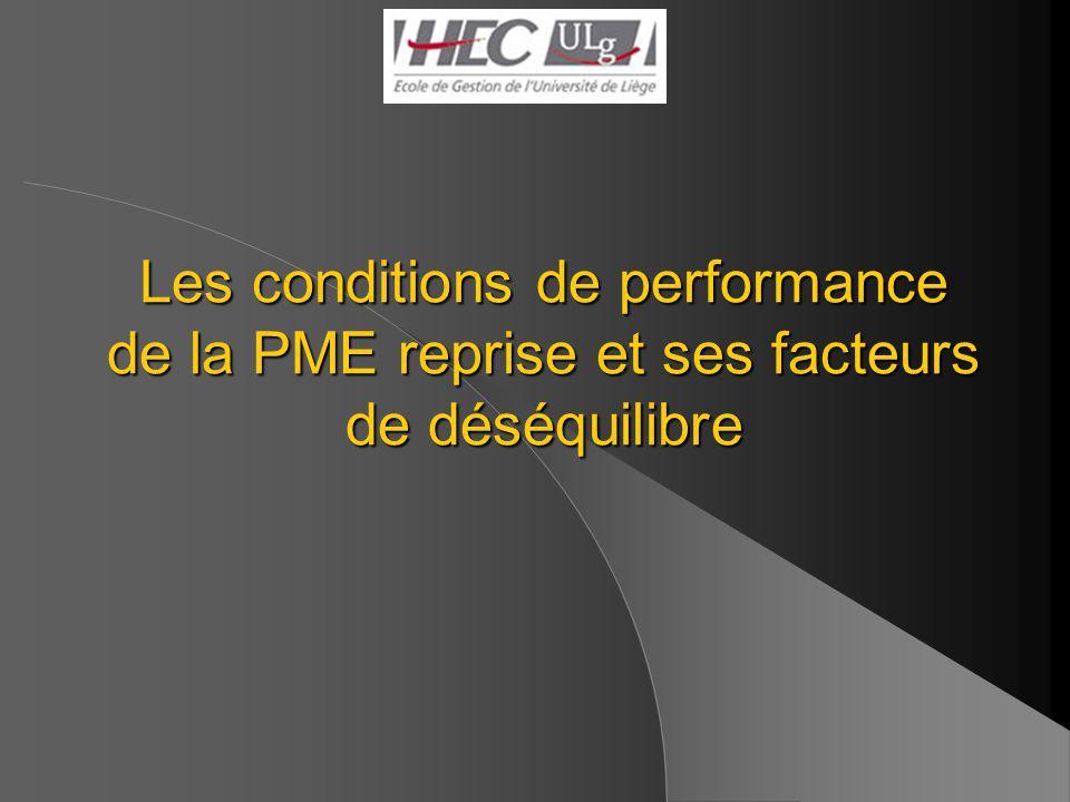 Les conditions de performance de la PME reprise et ses facteurs de déséquilibre