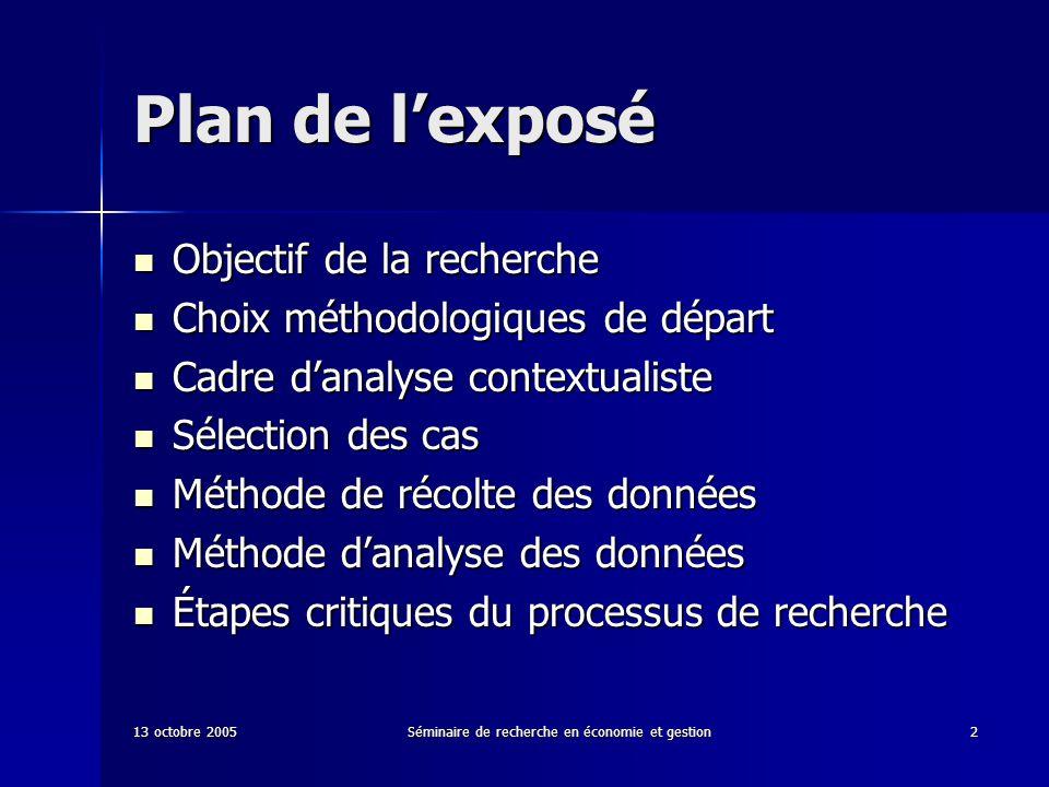 13 octobre 2005Séminaire de recherche en économie et gestion2 Plan de lexposé Objectif de la recherche Objectif de la recherche Choix méthodologiques