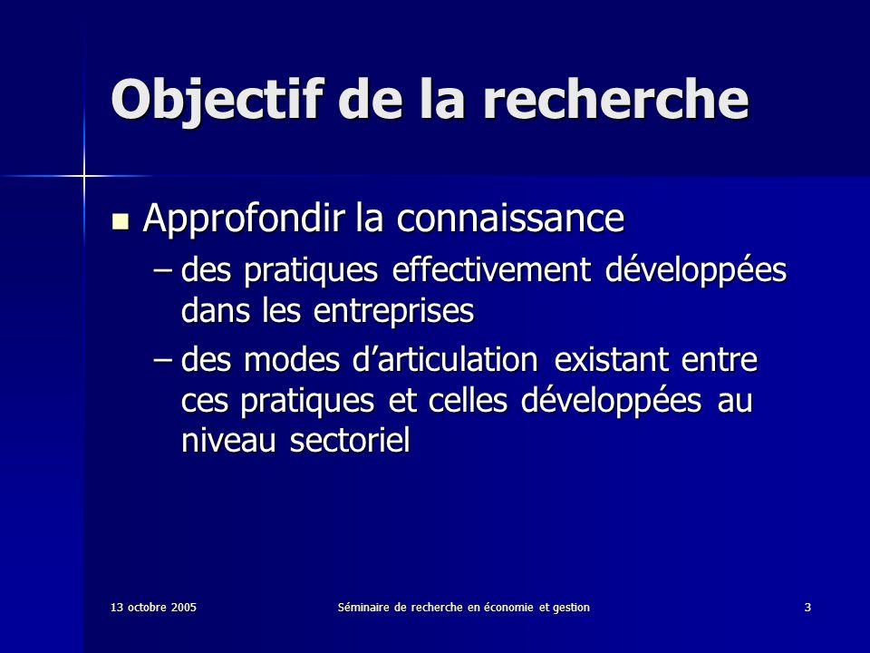 13 octobre 2005Séminaire de recherche en économie et gestion3 Objectif de la recherche Approfondir la connaissance Approfondir la connaissance –des pr