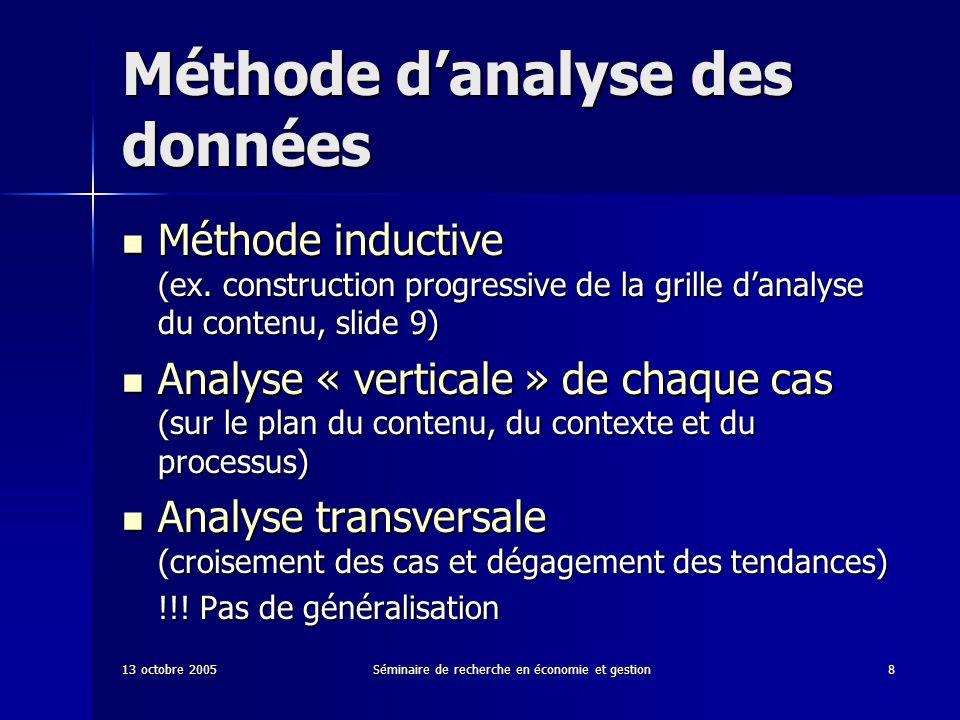 13 octobre 2005Séminaire de recherche en économie et gestion8 Méthode danalyse des données Méthode inductive (ex. construction progressive de la grill
