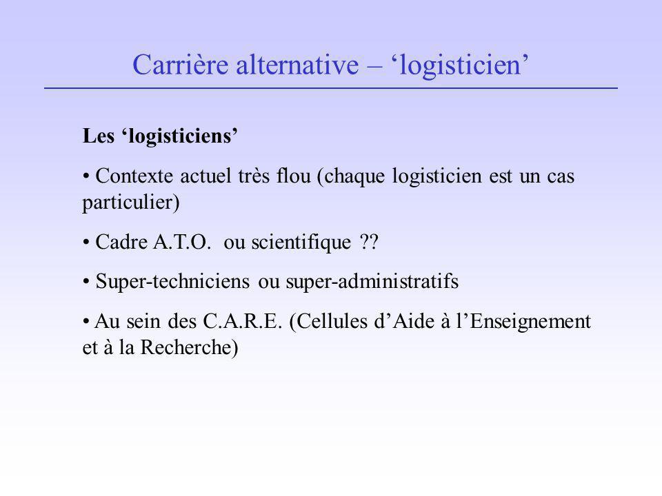 Carrière alternative – logisticien Les logisticiens Contexte actuel très flou (chaque logisticien est un cas particulier) Cadre A.T.O. ou scientifique