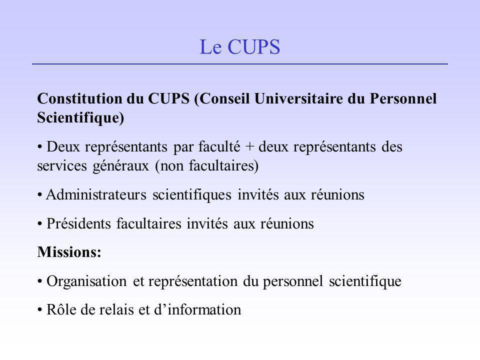 Le CUPS Constitution du CUPS (Conseil Universitaire du Personnel Scientifique) Deux représentants par faculté + deux représentants des services généra