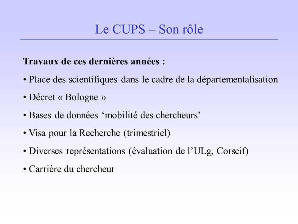 Le CUPS – Son rôle Travaux de ces dernières années : Place des scientifiques dans le cadre de la départementalisation Décret « Bologne » Bases de donn