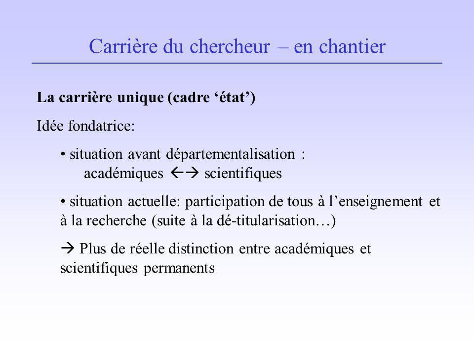 Carrière du chercheur – en chantier La carrière unique (cadre état) Idée fondatrice: situation avant départementalisation : académiques scientifiques