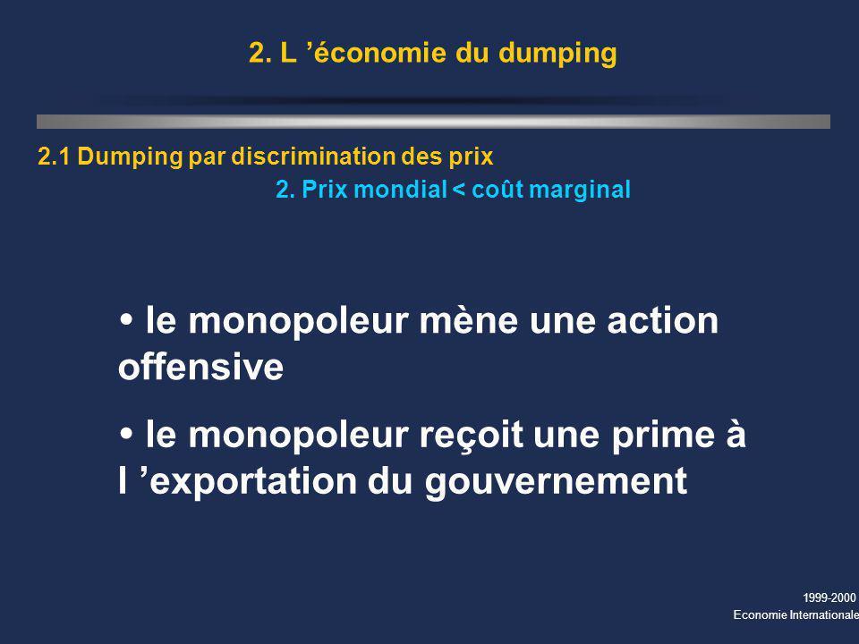 1999-2000 Economie Internationale 2. L économie du dumping 2.1 Dumping par discrimination des prix 2. Prix mondial < coût marginal le monopoleur mène