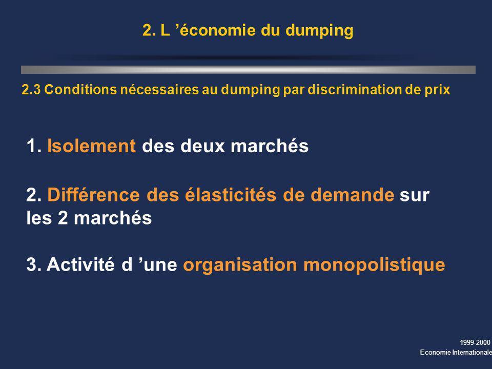 1999-2000 Economie Internationale 2. L économie du dumping 2.3 Conditions nécessaires au dumping par discrimination de prix 1. Isolement des deux marc