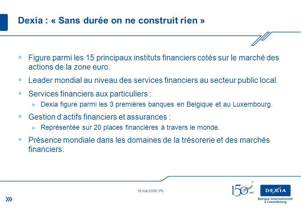 16 mai 2006 / P6 Dexia : « Sans durée on ne construit rien » Figure parmi les 15 principaux instituts financiers cotés sur le marché des actions de la zone euro.