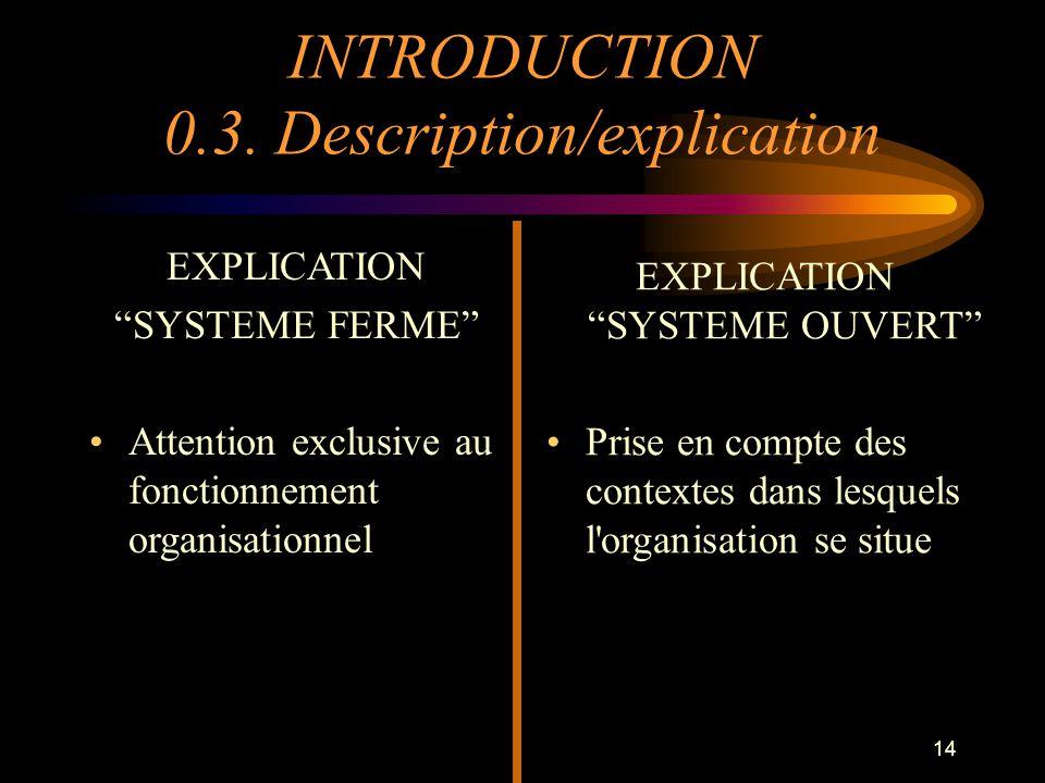 14 EXPLICATION SYSTEME FERME Attention exclusive au fonctionnement organisationnel EXPLICATION SYSTEME OUVERT Prise en compte des contextes dans lesqu