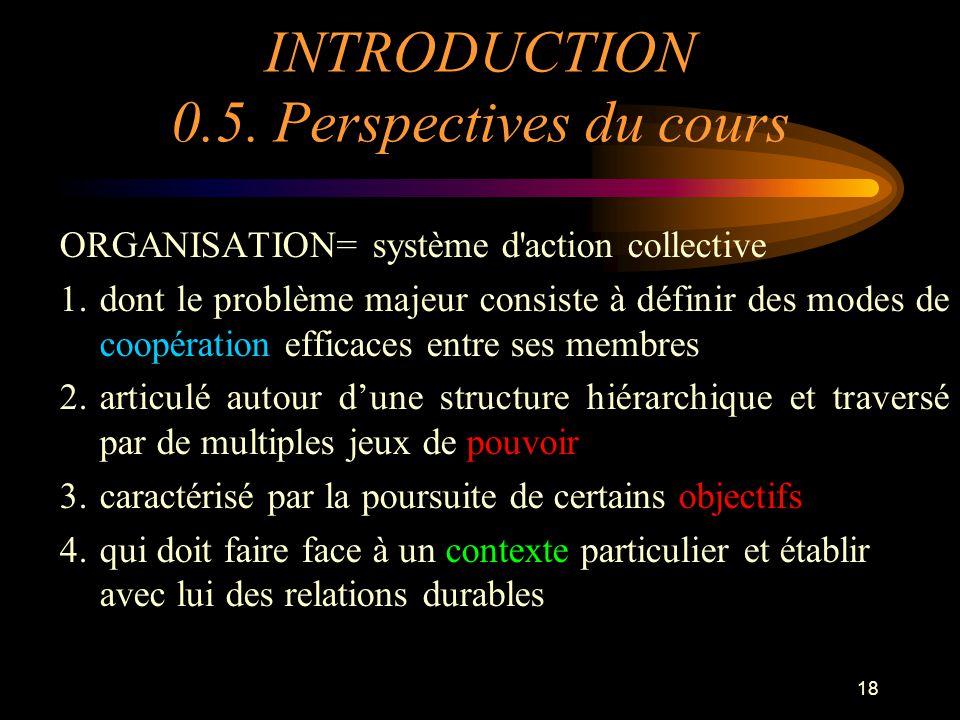 18 INTRODUCTION 0.5. Perspectives du cours ORGANISATION= système d'action collective 1.dont le problème majeur consiste à définir des modes de coopéra