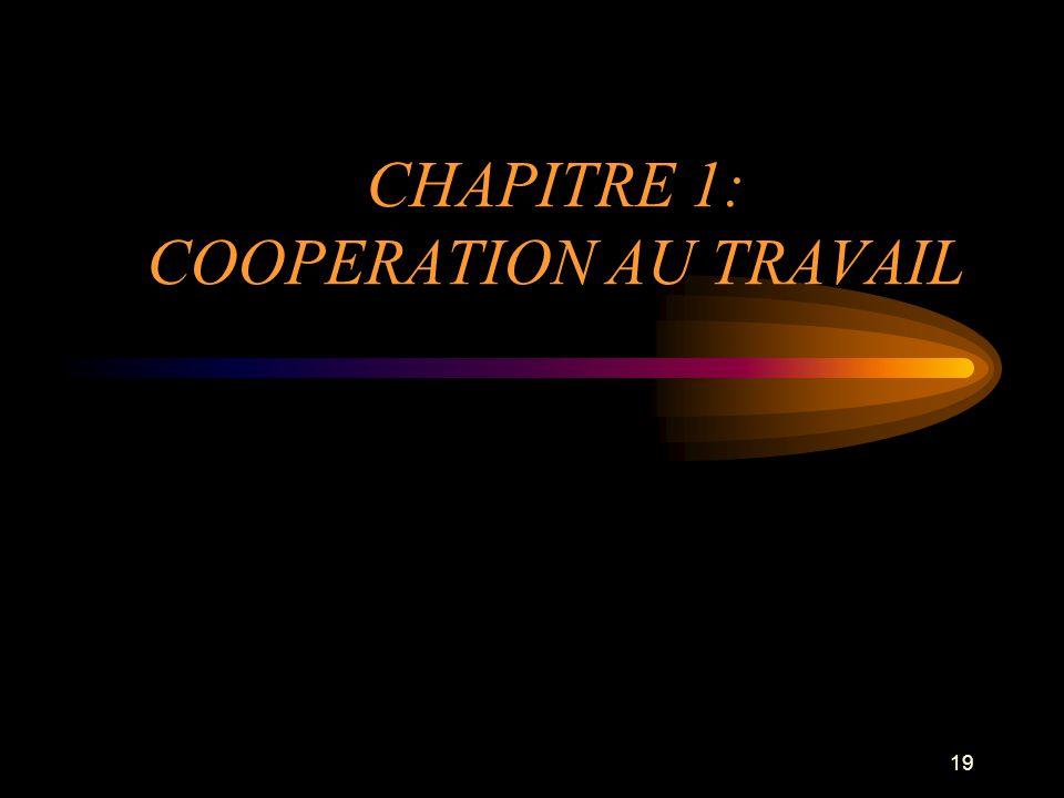 19 CHAPITRE 1: COOPERATION AU TRAVAIL