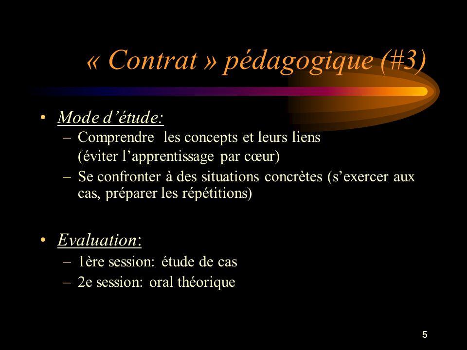 5 « Contrat » pédagogique (#3) Mode détude: –Comprendre les concepts et leurs liens (éviter lapprentissage par cœur) –Se confronter à des situations c