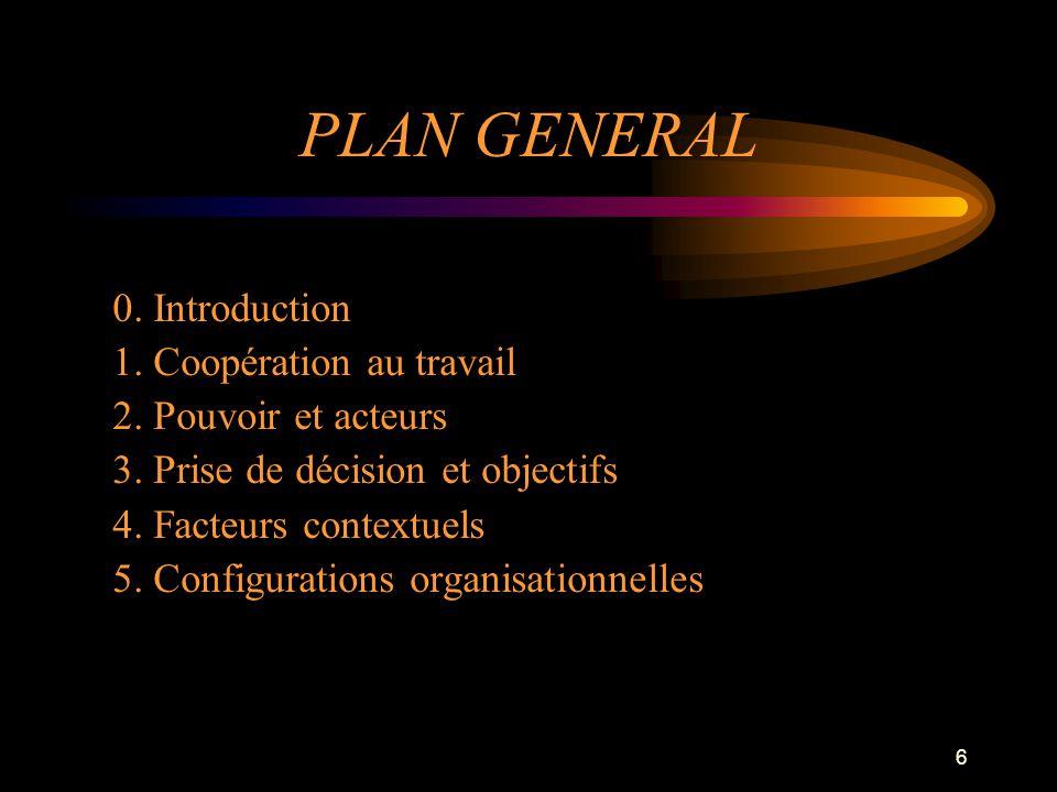 6 PLAN GENERAL 0. Introduction 1. Coopération au travail 2. Pouvoir et acteurs 3. Prise de décision et objectifs 4. Facteurs contextuels 5. Configurat