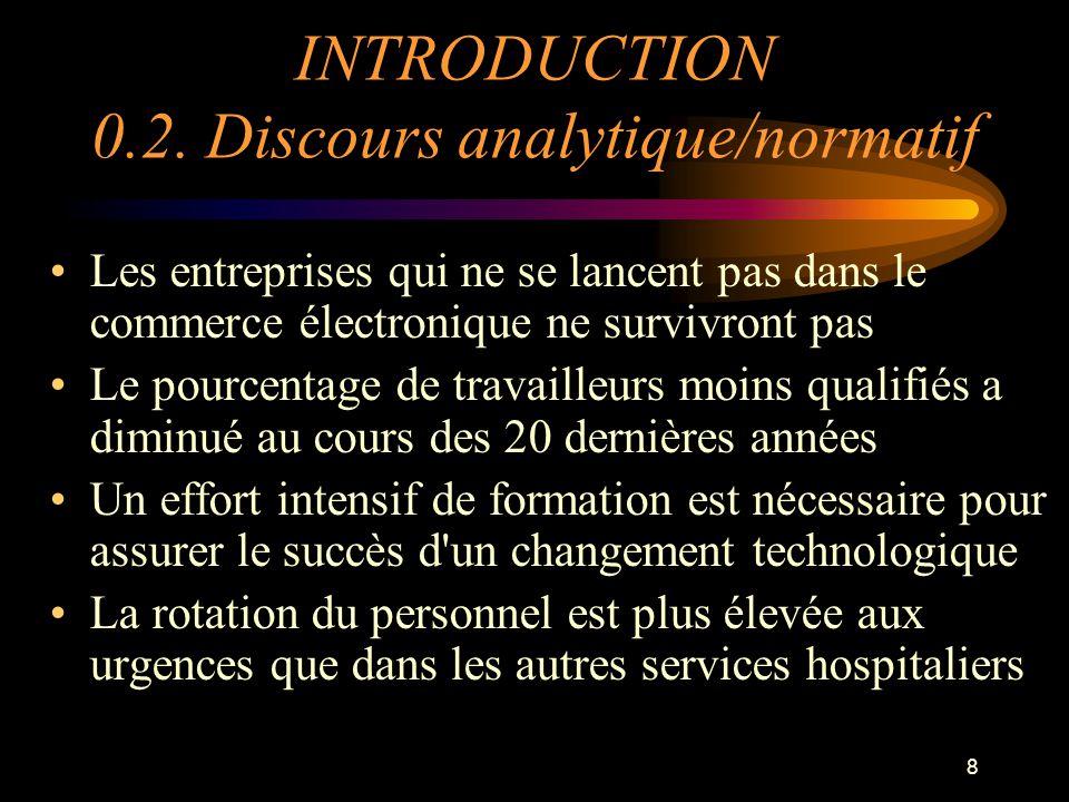 8 INTRODUCTION 0.2. Discours analytique/normatif Les entreprises qui ne se lancent pas dans le commerce électronique ne survivront pas Le pourcentage