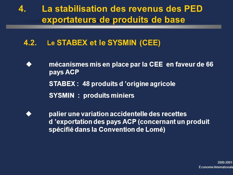 2000-2001 Economie Internationale 4.2. Le STABEX et le SYSMIN (CEE) u mécanismes mis en place par la CEE en faveur de 66 pays ACP STABEX : 48 produits