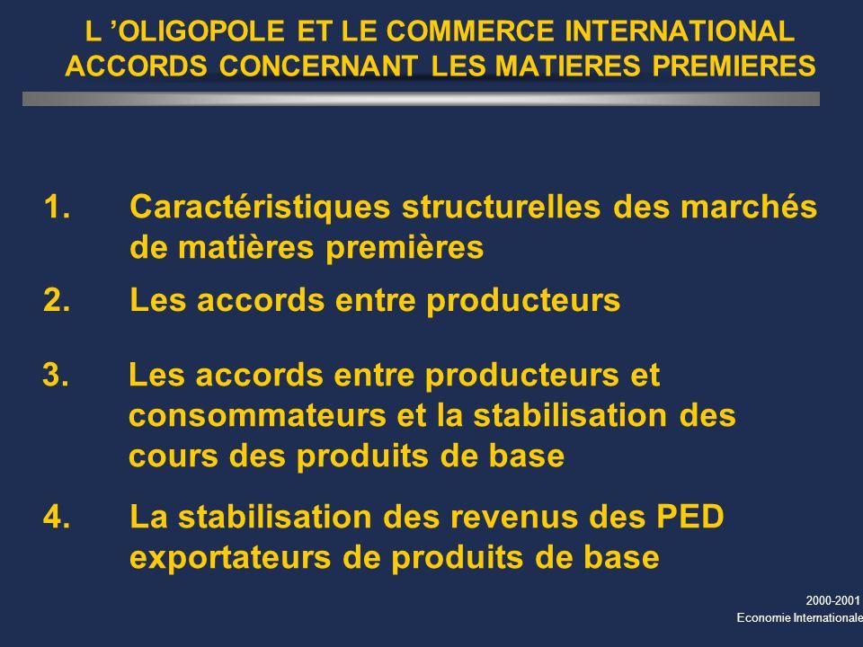 2000-2001 Economie Internationale L OLIGOPOLE ET LE COMMERCE INTERNATIONAL ACCORDS CONCERNANT LES MATIERES PREMIERES 1. Caractéristiques structurelles