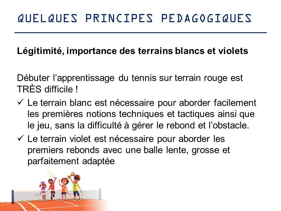 QUELQUES PRINCIPES PEDAGOGIQUES Légitimité, importance des terrains blancs et violets Débuter lapprentissage du tennis sur terrain rouge est TRÈS diff