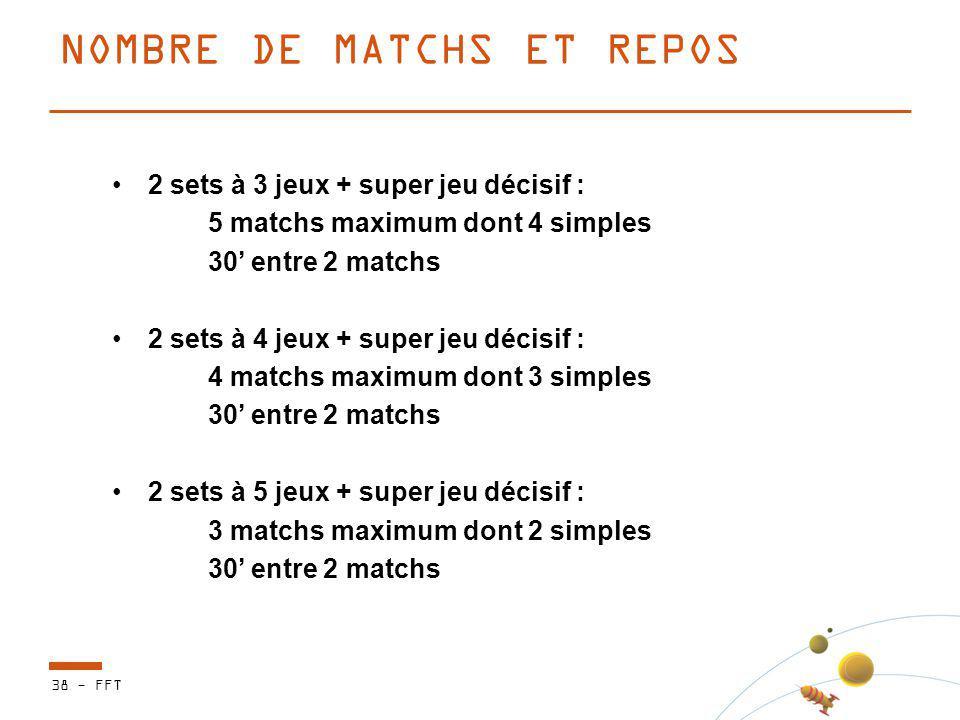 NOMBRE DE MATCHS ET REPOS 38 - FFT 2 sets à 3 jeux + super jeu décisif : 5 matchs maximum dont 4 simples 30 entre 2 matchs 2 sets à 4 jeux + super jeu