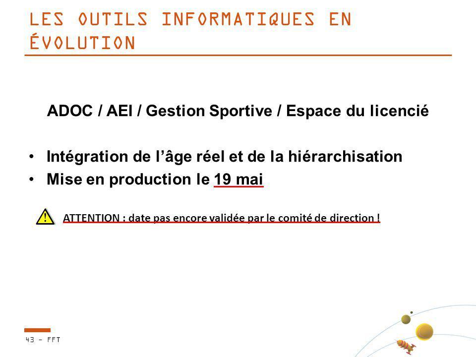 LES OUTILS INFORMATIQUES EN ÉVOLUTION ADOC / AEI / Gestion Sportive / Espace du licencié Intégration de lâge réel et de la hiérarchisation Mise en pro