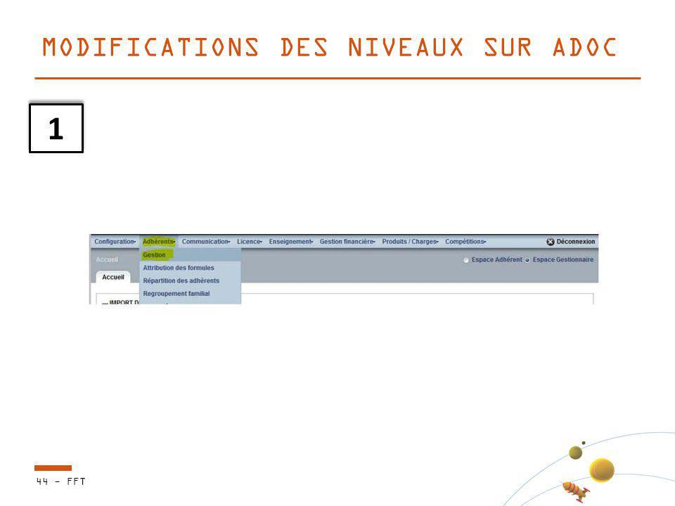 44 - FFT MODIFICATIONS DES NIVEAUX SUR ADOC 1 1