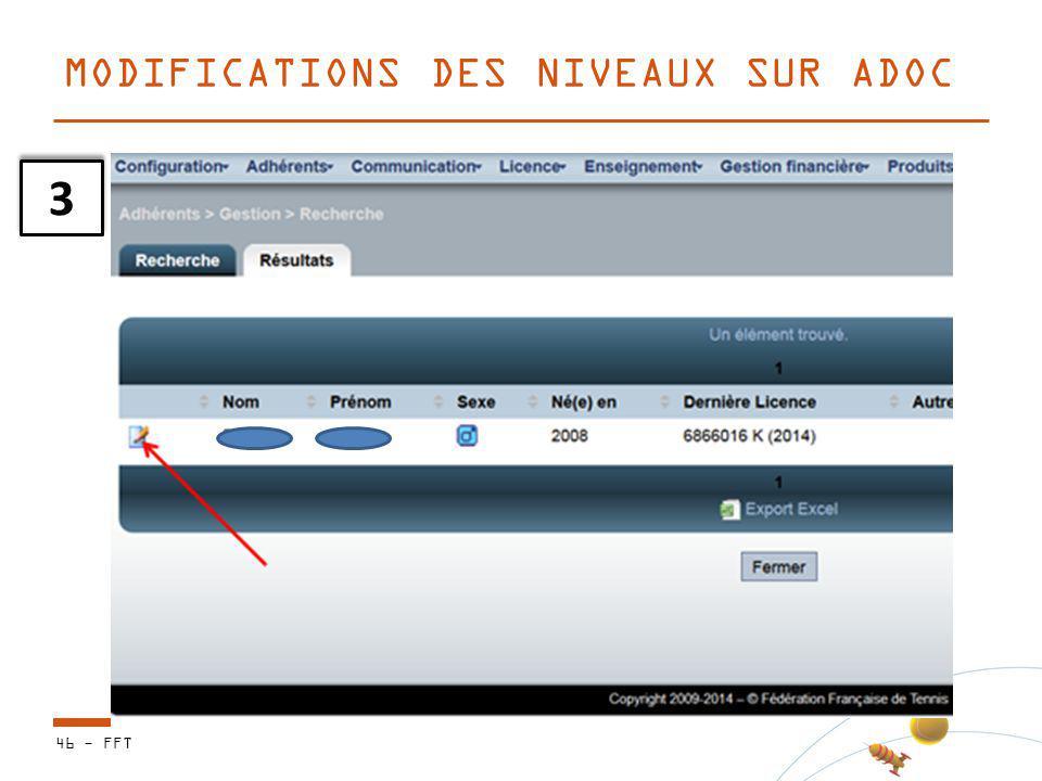 46 - FFT MODIFICATIONS DES NIVEAUX SUR ADOC 3 3