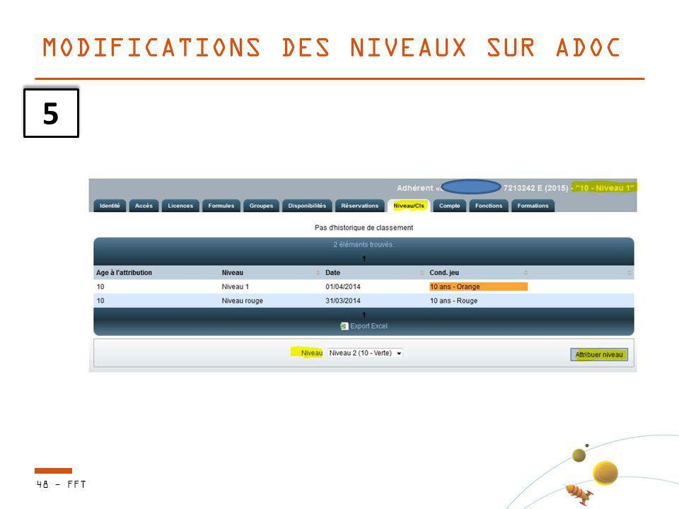 48 - FFT MODIFICATIONS DES NIVEAUX SUR ADOC 5 5