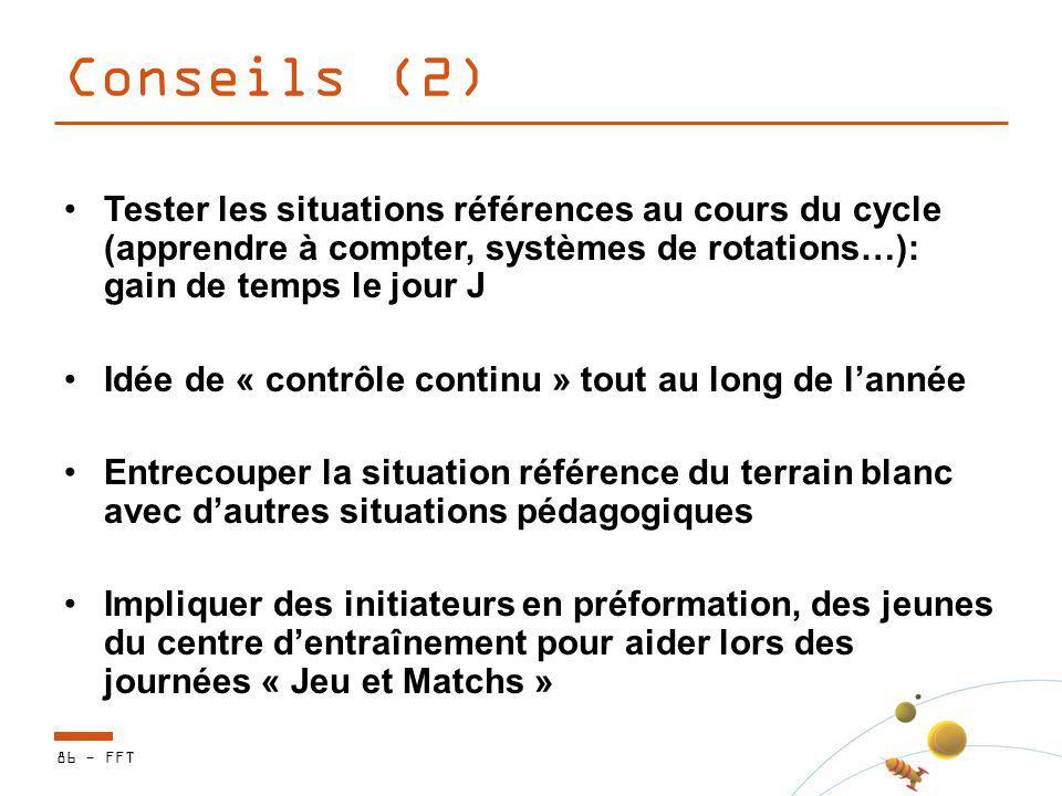 Conseils (2) Tester les situations références au cours du cycle (apprendre à compter, systèmes de rotations…): gain de temps le jour J Idée de « contr