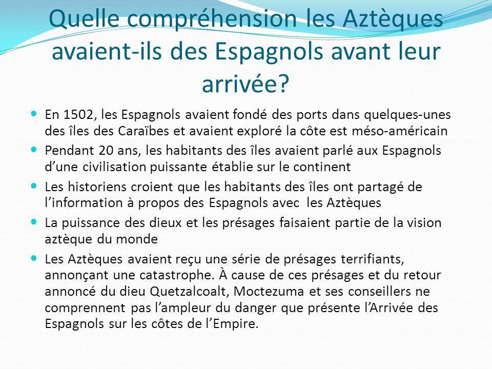 Quelle compréhension les Aztèques avaient-ils des Espagnols avant leur arrivée? En 1502, les Espagnols avaient fondé des ports dans quelques-unes des