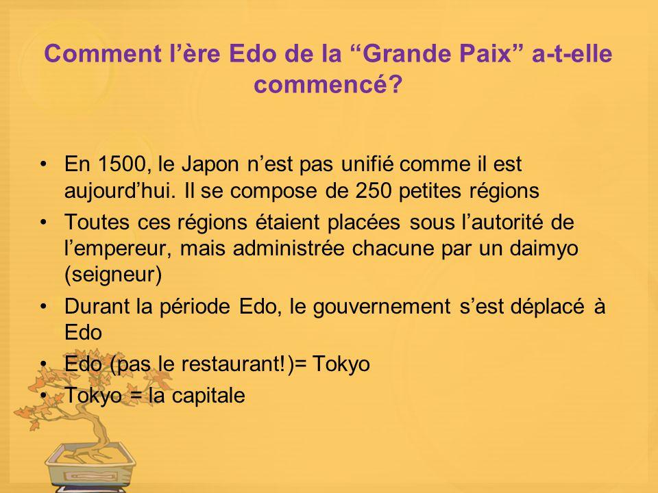 Comment lère Edo de la Grande Paix a-t-elle commencé? En 1500, le Japon nest pas unifié comme il est aujourdhui. Il se compose de 250 petites régions