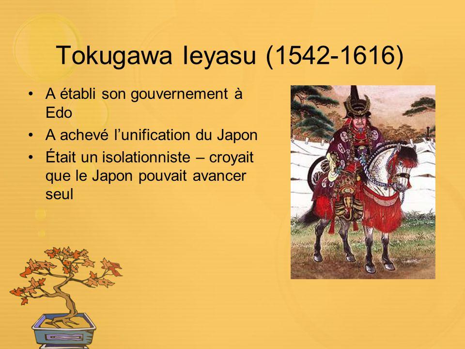 Tokugawa Ieyasu (1542-1616) A établi son gouvernement à Edo A achevé lunification du Japon Était un isolationniste – croyait que le Japon pouvait avan