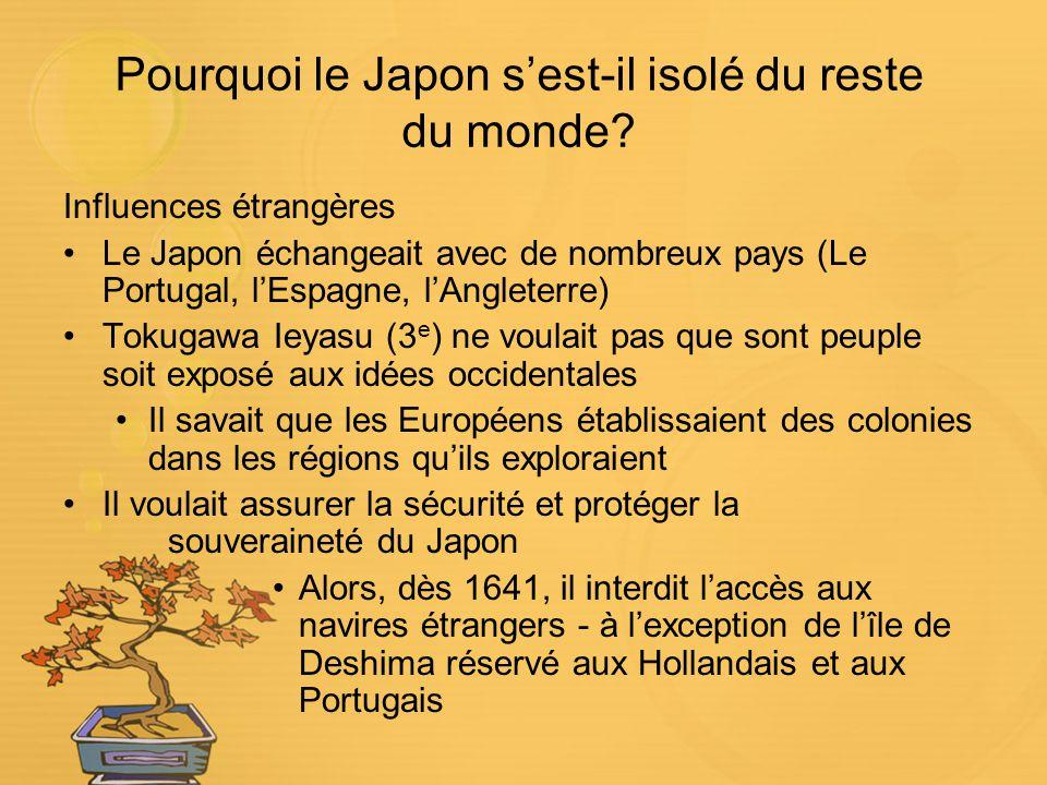 Pourquoi le Japon sest-il isolé du reste du monde? Influences étrangères Le Japon échangeait avec de nombreux pays (Le Portugal, lEspagne, lAngleterre