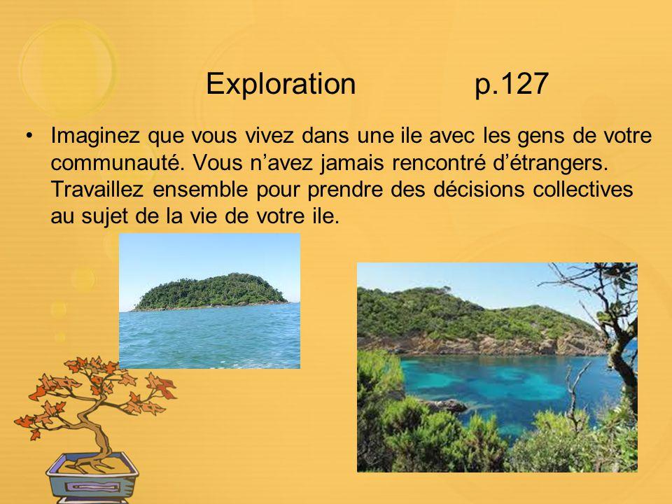 Explorationp.127 Imaginez que vous vivez dans une ile avec les gens de votre communauté. Vous navez jamais rencontré détrangers. Travaillez ensemble p