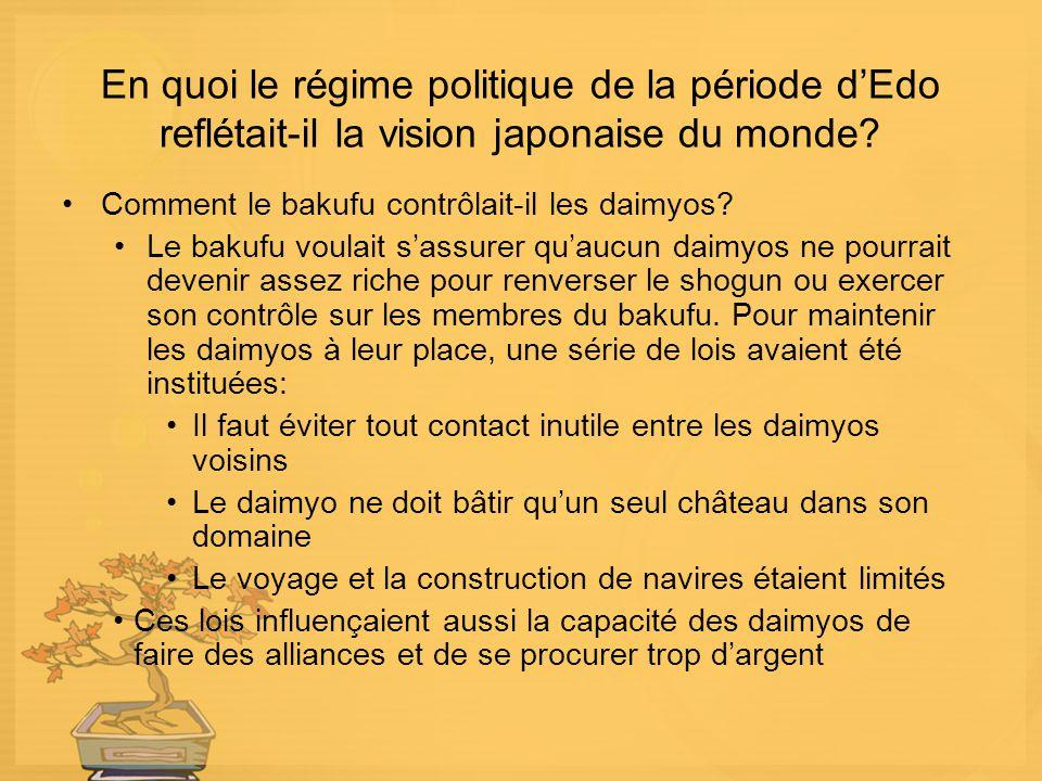 En quoi le régime politique de la période dEdo reflétait-il la vision japonaise du monde? Comment le bakufu contrôlait-il les daimyos? Le bakufu voula