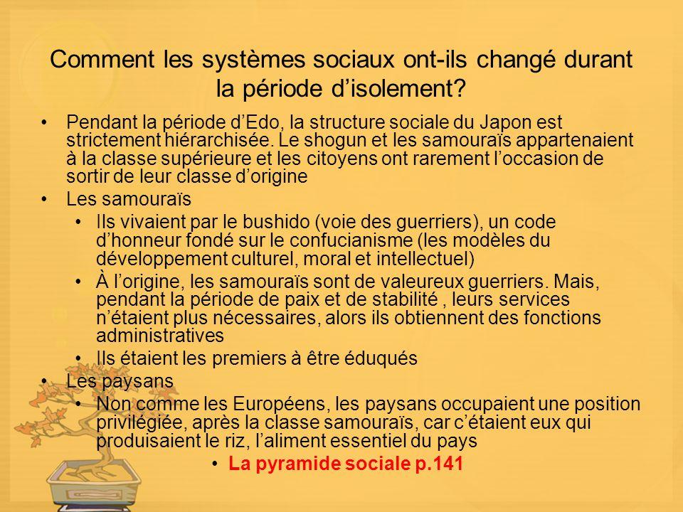 Comment les systèmes sociaux ont-ils changé durant la période disolement? Pendant la période dEdo, la structure sociale du Japon est strictement hiéra