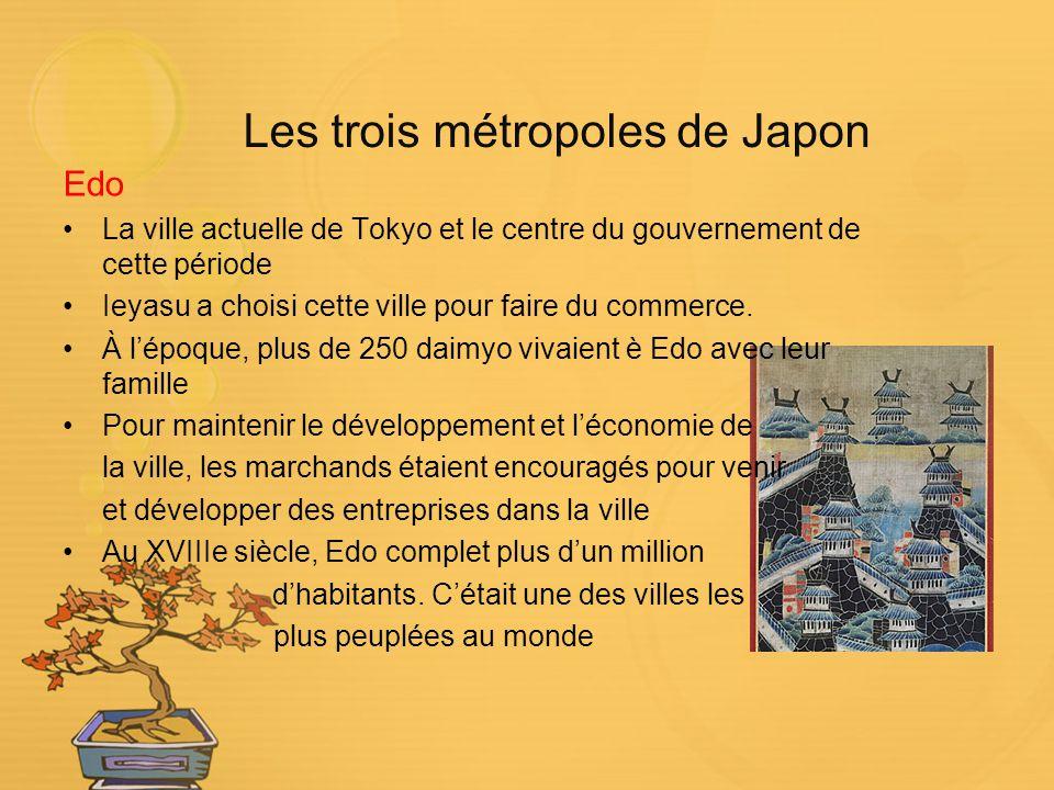 Les trois métropoles de Japon Edo La ville actuelle de Tokyo et le centre du gouvernement de cette période Ieyasu a choisi cette ville pour faire du c
