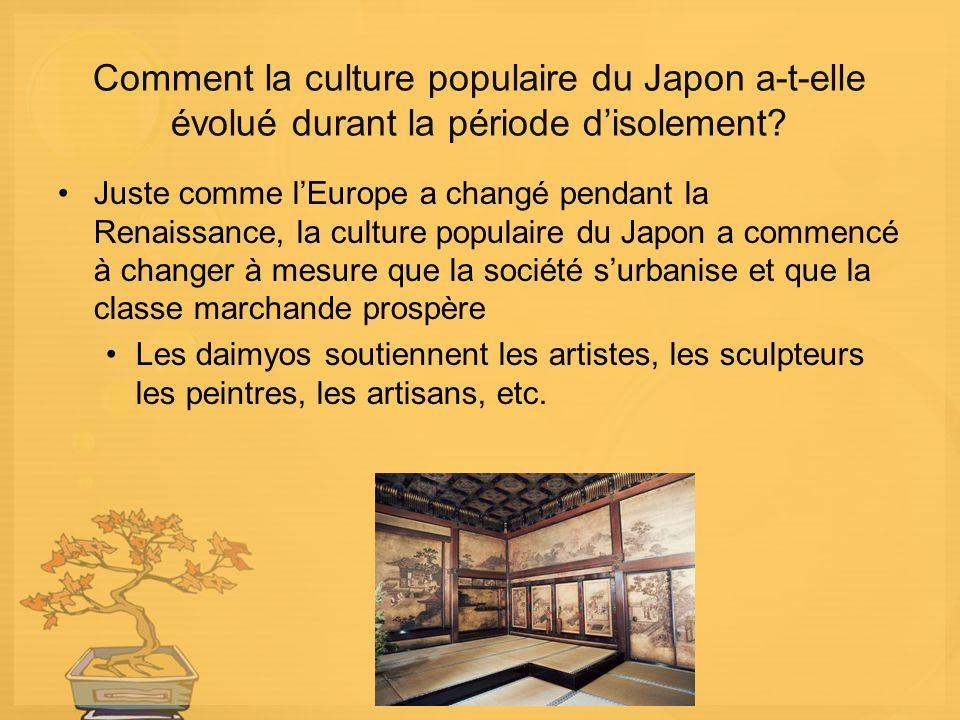 Comment la culture populaire du Japon a-t-elle évolué durant la période disolement? Juste comme lEurope a changé pendant la Renaissance, la culture po
