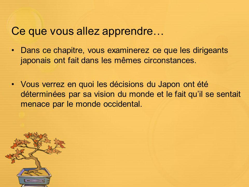 Ce que vous allez apprendre… Dans ce chapitre, vous examinerez ce que les dirigeants japonais ont fait dans les mêmes circonstances. Vous verrez en qu
