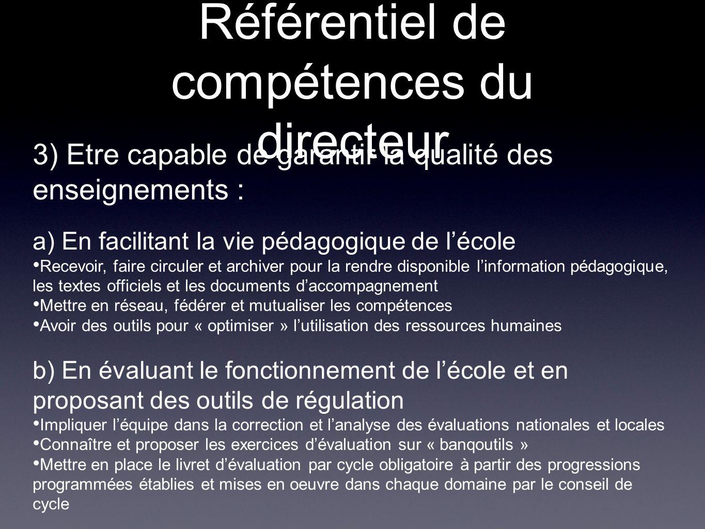 Référentiel de compétences du directeur 3) Etre capable de garantir la qualité des enseignements : a) En facilitant la vie pédagogique de lécole Recev
