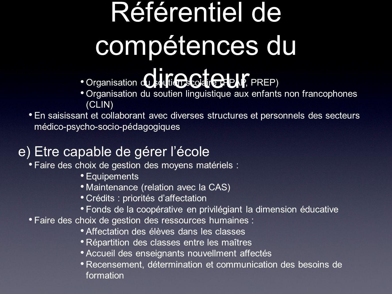 Référentiel de compétences du directeur Organisation du soutien scolaire (PPAP, PREP) Organisation du soutien linguistique aux enfants non francophone