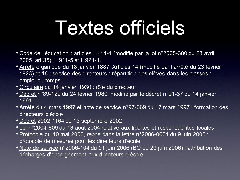 Textes officiels Code de léducation : articles L 411-1 (modifié par la loi n°2005-380 du 23 avril 2005, art 35), L 911-5 et L 921-1. Arrêté organique