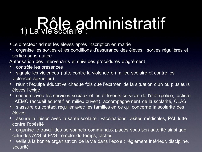 Rôle administratif 1) La vie scolaire : Le directeur admet les élèves après inscription en mairie Il organise les sorties et les conditions dassurance