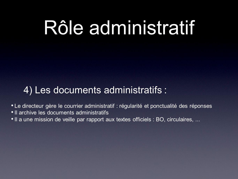 Rôle administratif 4) Les documents administratifs : Le directeur gère le courrier administratif : régularité et ponctualité des réponses Il archive l