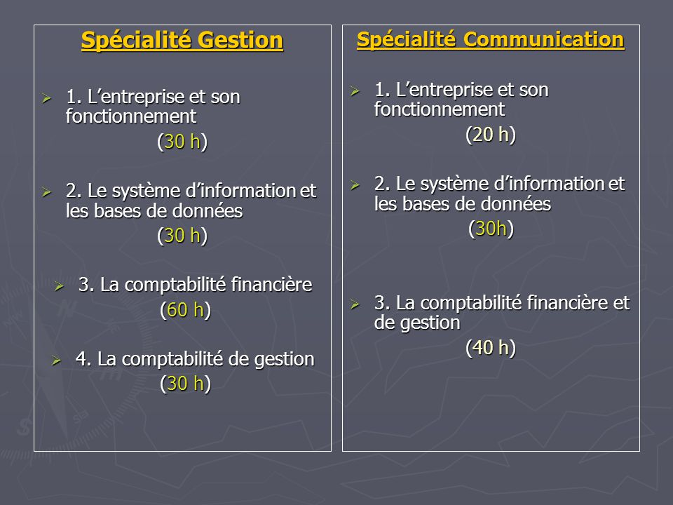 Spécialité Gestion 1. Lentreprise et son fonctionnement 1.